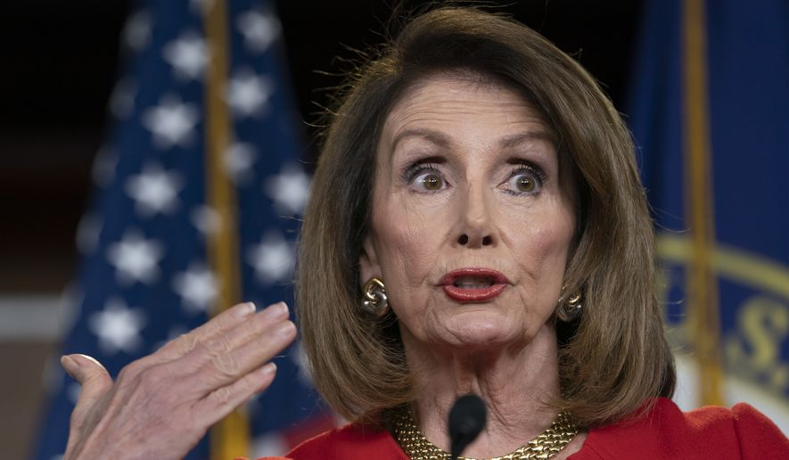 Speaker of the House Nancy Pelosi, D-Calif., insists that Attorney General William Barr send to Congress the full report by special counsel Robert Mueller on the Russia probe with all its underlying evidence, during a news conference on Capitol Hill in Washington, Thursday, April 4, 2019. (AP Photo/J. Scott Applewhite) ** FILE **