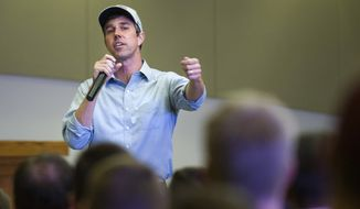 Democratic presidential candidate and former Texas congressman Beto O'Rourke speaks during a campaign event in Sioux City, Iowa, on Thursday, April 4, 2019. (Justin Wan/Sioux City Journal via AP)