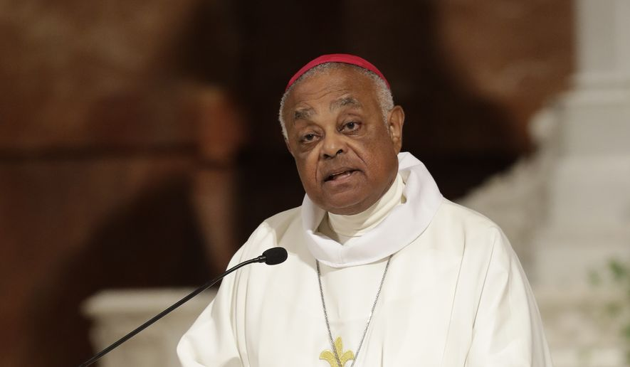 In this June 14, 2017, file photo, Archbishop Wilton D. Gregory speaks during a Mass to repent clergy sexual abuse and to pray for molestation victims, in Indianapolis. Pope Francis has named Atlanta Archbishop Wilton Gregory as the new archbishop of Washington D.C., choosing a moderate, and the first African-American, to lead the archdiocese that has become the epicenter of the clergy sex abuse crisis in the U.S. The 71-year-old Gregory replaces Cardinal Donald Wuerl, who resigned last year after being implicated in covering up abuse by a Pennsylvania grand jury report. (AP Photo/Darron Cummings, file)