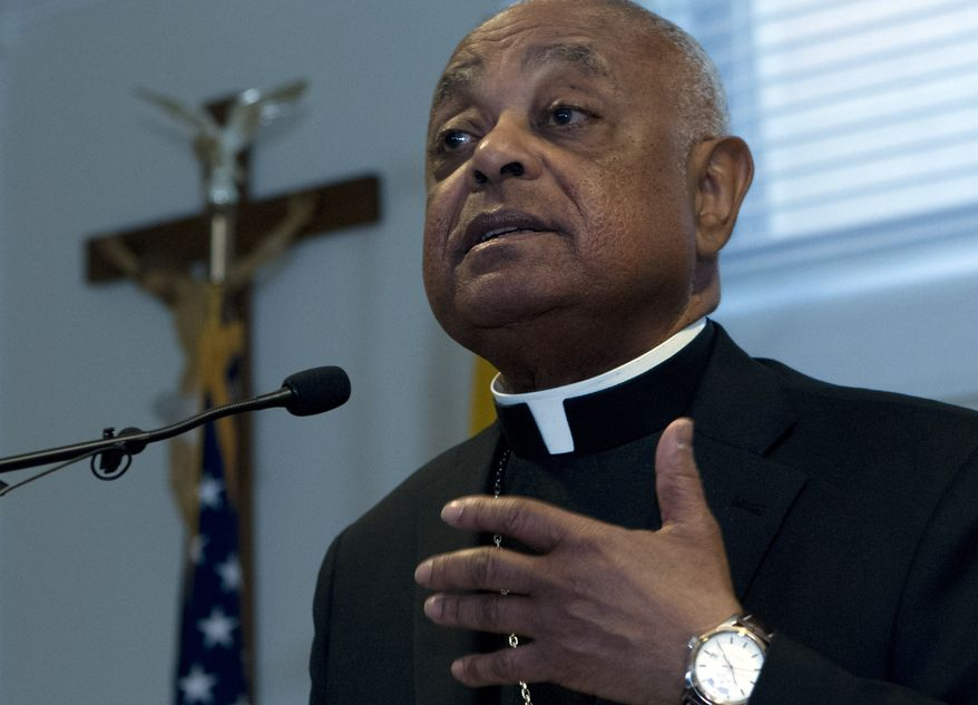 Archbishop designated by Pope Francis to the Archdiocese of Washington, Archbishop Wilton D. Gregory speaks during a news conference at Washington Archdiocesan Pastoral Center in Hyattsville, Md., Thursday, April 4, 2019. Archbishop-designate Gregory will succeed Cardinal Donald Wuerl. (AP Photo/Jose Luis Magana)