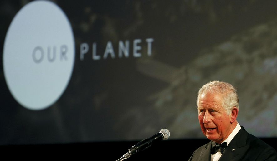 """Britain's Prince Charles gives a speech during the global premiere of Netflix's """"Our Planet"""" at the Natural History Museum in London, Thursday April 4, 2019. (John Sibley/Pool via AP)"""