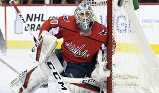 Washington Capitals goaltender Braden Holtby (70) eyes the puck during a game against the Montreal Canadiens during the first period of their NHL hockey game in Washington, Thursday, April 4, 2019. (AP Photo/Susan Walsh) ** FILE **