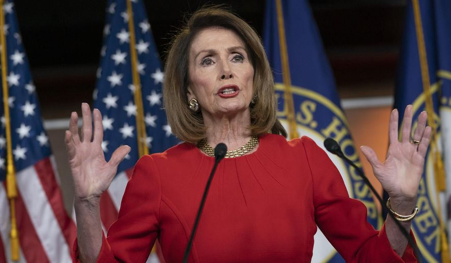 Speaker of the House Nancy Pelosi, D-Calif., insists that Attorney General William Barr send to Congress the full report by special counsel Robert Mueller on the Russia probe with all its underlying evidence, during a news conference on Capitol Hill in Washington, Thursday, April 4, 2019. She also defended the move by House Ways and Means Committee Chairman Richard Neal, D-Mass., to demand President Donald Trump's tax returns for six years. (AP Photo/J. Scott Applewhite) **FILE**