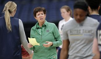 Notre Dame head coach Muffet McGraw directs her team during practice at the women's Final Four NCAA college basketball tournament, Thursday, April 4, 2019, in Tampa, Fla. Notre Dame faces Connecticut in a national semifinal on Friday.(AP Photo/John Raoux)