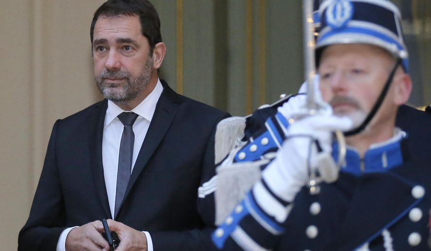 FILE - In this Jan.4, 2019 file photo, French Interior Minister Christophe Castaner, arrives at the Interior Ministry for the traditional New Year government breakfast in Paris. Foreign and interior ministers from the Group of Seven are gathering in France this week to try to find ambitious solutions to world security challenges. Putting a dampener on that are two glaring American absences: US Secretary of State Mike Pompeo and Homeland Security Secretary Kirstjen Nielsen. (AP Photo/Michel Euler, File)