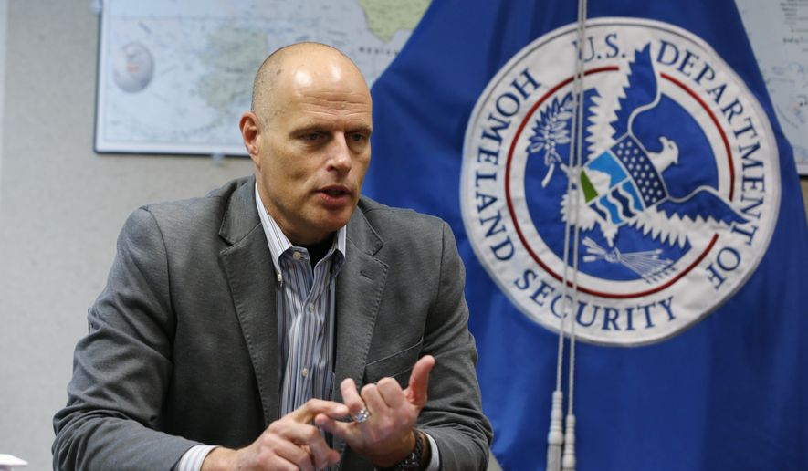 In this Nov. 9, 2018, photo, acting ICE Director Ron Vitiello gestures during an interview in Richmond, Va. The White House has pulled the nomination of longtime border official Vitiello to lead U.S. Immigration and Customs Enforcement. (AP Photo/Steve Helber)