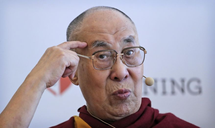 "Tibetan spiritual leader the Dalai Lama speaks during a press conference after talking to an audience of educators, in New Delhi, India, Thursday, April 4, 2019. The Dalai Lama says he has been seeking a mutually acceptable solution to the Tibetan issue with China since 1974 but that Beijing considers him a ""splittist.""(AP Photo/Manish Swarup)"