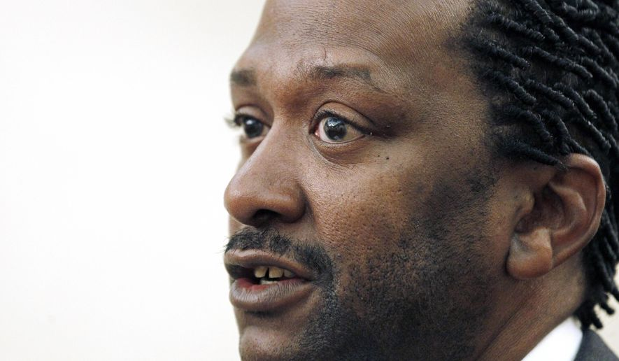 FILE - This June 14, 2012, file photo shows James Hart Stern, of Jackson, Miss., at a news conference in Jackson, Miss. The activist who says he took control over one of the nation's largest neo-Nazi groups has been barred from participating on the group's behalf in a federal lawsuit over the violence that erupted at a white nationalist rally in Virginia. (AP Photo/Rogelio V. Solis, File)