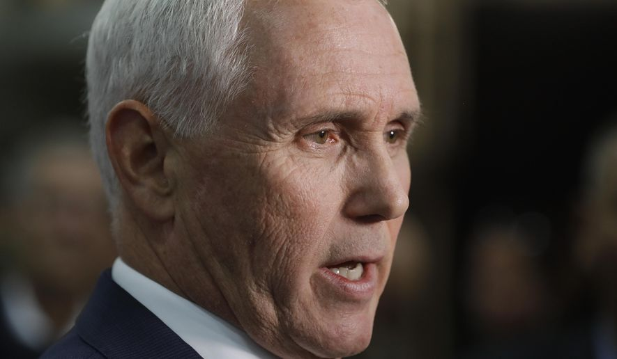 Vice President Mike Pence speaks during a news conference following a visit to Lamb Farms, Inc., Thursday, April 4, 2019, in Lebanon, Ind. (AP Photo/Darron Cummings)