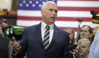 Vice President Mike Pence speaks during a visit to Lamb Farms, Inc., Thursday, April 4, 2019, in Lebanon, Ind. (AP Photo/Darron Cummings)