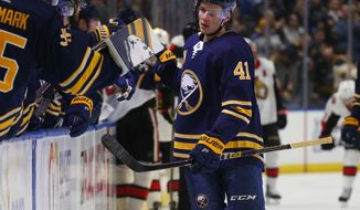 Buffalo Sabres forward Victor Olofsson (41) celebrates his goal during the first period of the team's NHL hockey game against the Ottawa Senators on Thursday, April 4, 2019, in Buffalo, N.Y. (AP Photo/Jeffrey T. Barnes)