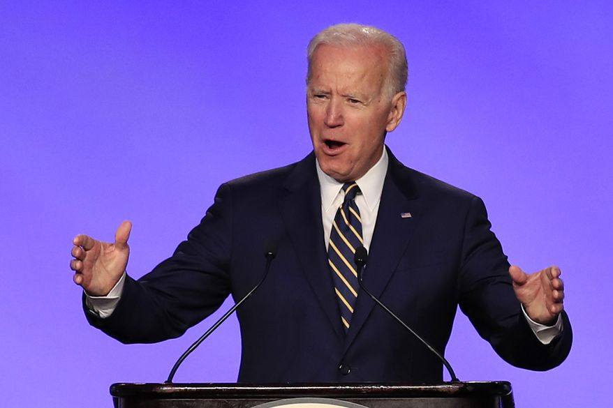 Former Vice President Joe Biden speaks at the International Brotherhood of Electrical Workers construction and maintenance conference in Washington, Friday, April 5, 2019. (AP Photo/Manuel Balce Ceneta)