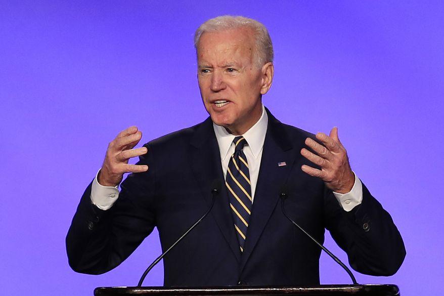 Former Vice President Joe Biden speaks at the IBEW Construction and Maintenance Conference in Washington, Friday, April 5, 2019. (AP Photo/Manuel Balce Ceneta)