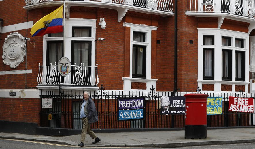 """A general view of the Ecuadorian Embassy where Wikileaks founder Julian Assange has been holed out since 2012, in London, Friday, April 5, 2019. A senior Ecuadorian official said no decision has been made to expel Julian Assange from the country's London embassy despite tweets from Wikileaks that sources had told it he could be kicked out within """"hours to days"""" on Friday. (AP Photo/Alastair Grant)"""
