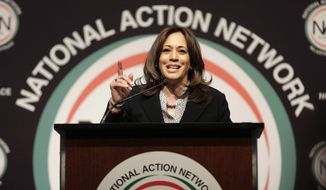 U.S. Sen. Kamala Harris, D-Calif., a candidate for the 2020 Democratic presidential nomination, addresses the National Action Network Convention in New York, Friday, April 5, 2019. (AP Photo/Seth Wenig)
