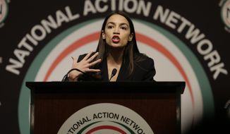 Rep. Alexandria Ocasio-Cortez, D-N.Y., speaks during the National Action Network Convention in New York, Friday, April 5, 2019. (AP Photo/Seth Wenig)