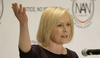 U.S. Sen. Kirsten Gillibrand, D-N.Y., a candidate for the 2020 Democratic presidential nomination, speaks during a luncheon at the National Action Network Convention in New York, Friday, April 5, 2019. (AP Photo/Seth Wenig)