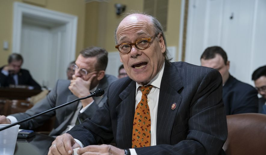 This March 11, 2019, file photo shows Rep. Steve Cohen, D-Tenn., representing House Judiciary Committee Chairman Jerrold Nadler of N.Y., joined at left by Rep. Doug Collins, R-Ga., the top Republican on the House Judiciary Committee, going before the House Rules Committee. (AP Photo/J. Scott Applewhite, File)