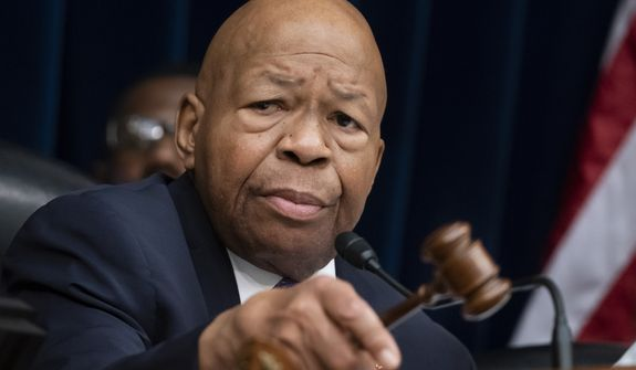 """House Oversight and Reform Committee Chair Elijah Cummings, D-Md., leads a meeting to call for subpoenas after a career official in the White House security office says dozens of people in President Donald Trump's administration were granted security clearances despite """"disqualifying issues"""" in their backgrounds, on Capitol Hill in Washington, Tuesday, April 2, 2019. The issue sets the stage for another fight between the White House and the Democratic-controlled House, with Rep. Jim Jordan, the committee's ranking Republican, saying in a statement that Cummings' probe is a """"partisan attack."""" (AP Photo/J. Scott Applewhite)"""