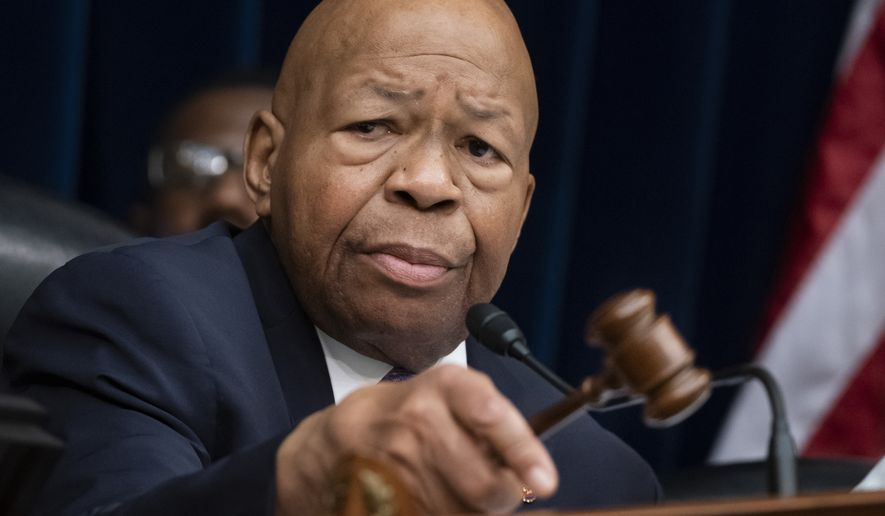 "House Oversight and Reform Committee Chair Elijah Cummings, D-Md., leads a meeting to call for subpoenas after a career official in the White House security office says dozens of people in President Donald Trump's administration were granted security clearances despite ""disqualifying issues"" in their backgrounds, on Capitol Hill in Washington, Tuesday, April 2, 2019. (AP Photo/J. Scott Applewhite) ** FILE **"