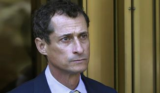In this Sept. 25, 2017 file photo, former Congressman Anthony Weiner leaves federal court following his sentencing in New York.  Weiner has been ordered to register as a sex offender as he nears the end of a 21-month prison sentence for having illicit online contact with a 15-year-old girl. A New York City judge on Friday, April 5, 2019, designated Weiner a Level 1 sex offender, meaning he's thought to have a low risk of reoffending. (AP Photo/Mark Lennihan, File)