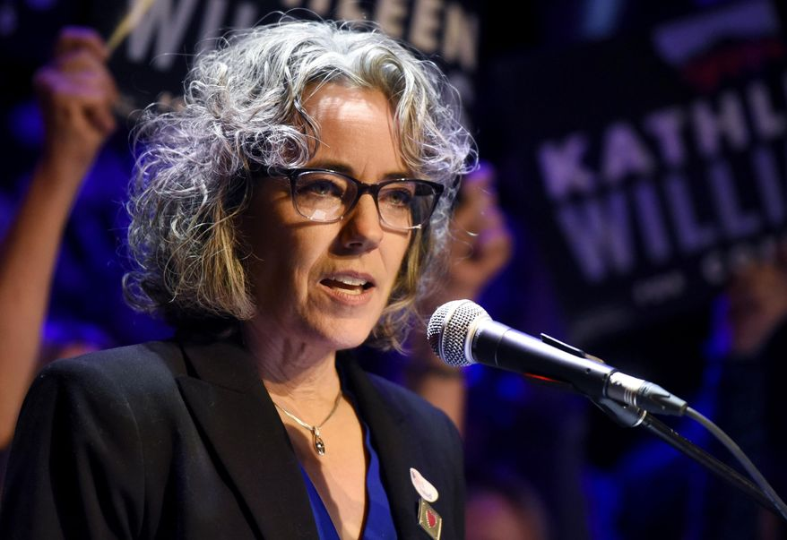 FILE - In this Nov. 6, 2018 file photo Kathleen Williams speaks at her election party in Bozeman, Mont. The Democratic former lawmaker is launching a second bid for Montana's sole seat in the U.S. House of Representatives.. (Rachel Leathe/Bozeman Daily Chronicle via AP,File)