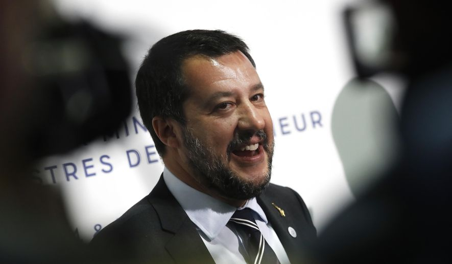 Italian Interior Minister and Vice Premier Matteo Salvini attends a press conference during the G7 Interior Ministers meeting in Paris Thursday, April 4, 2019. Foreign and interior ministers from the Group of Seven are gathering in France this week to try to find ambitious solutions to world security challenges. Putting a dampener on that are two glaring American absences: U.S. Secretary of State Mike Pompeo and Homeland Security Secretary Kirstjen Nielsen. (AP Photo/Christophe Ena)