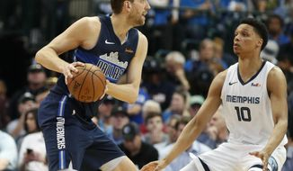 Dallas Mavericks forward Dirk Nowitzki looks to pass against Memphis Grizzlies forward Ivan Rabb (10) during the first half of an NBA basketball game in Dallas, Friday, April 5, 2019. (AP Photo/LM Otero)