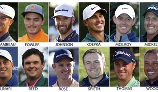 FILE - These are file photos showing some of the golfers expected to compete in the Masters golf tournament in Augusta, Ga. Shown are Bryson DeChambeau, Rickie Fowler, Dustin Johnson, Brooks Koepka, Rory McIlroy, Phil Mickelson, Francesco Molinari, Patrick Reed, Justin Rose, Jordan Spieth, Justin Thomas and Tiger Woods. (AP Photo/File)