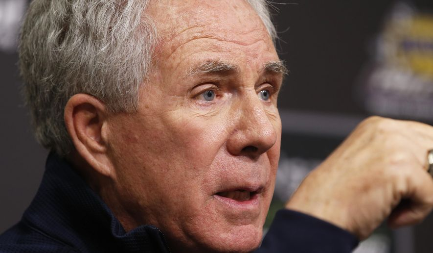 Hall of Fame driver and FOX television announcer Darrell Waltrip speaks to the media during a press conference announcing his retirement from the booth before practice for a NASCAR Cup Series auto race, Friday, April 5, 2019, in Bristol, Tenn. (AP Photo/Wade Payne)