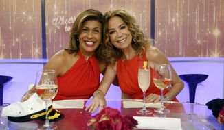 """This image released by NBC shows """"Today"""" show hosts Hoda Kotb, left, and Kathie Lee Gifford on the set in New York, Friday, April 5, 2019, on Gifford's last day as co-host. Gifford wrapped up 11 years with NBC's """"Today"""" show Friday with laughs, tears, Scripture and _ of course _ wine. The 65-year-old host received a standing ovation from the audience after rapper Flo Rida opened the program by singing that the studio was """"Kathie Lee's house."""" (Nathan Congleton/NBC via AP)"""