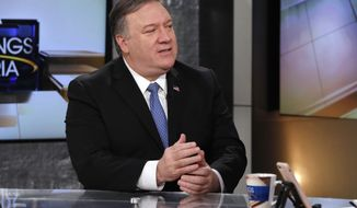"""U.S. Secretary of State Mike Pompeo is interviewed by Maria Bartiromo during her """"Mornings with Maria Bartiromo"""" program on the Fox Business Network, in New York Friday, April 5, 2019. (AP Photo/Richard Drew)"""
