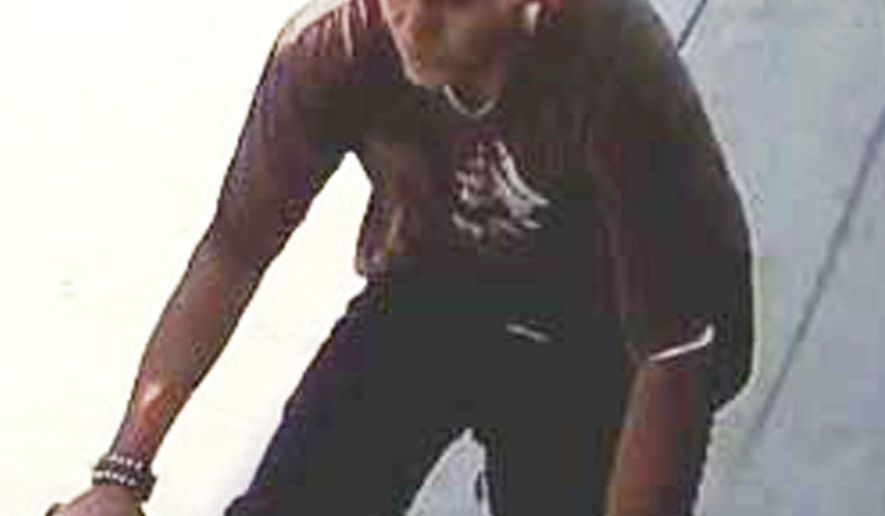 FILE - This undated file photo released by the Los Angeles Police Department shows a suspect being sought in a series of slashing attacks recently in Los Angeles. The man who rode around on a bicycle with a knife and slashed the faces and necks of nine people in Los Angeles has been charged with multiple felonies. The LA County district attorney's office says Friday, April 5, 2019, that Lenrey Briones, 19, faces seven counts of aggravated mayhem, two counts of attempted aggravated mayhem and one count of attempted second-degree robbery. (Los Angeles Police Department via AP, File)