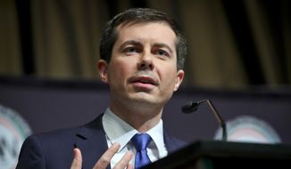 Democratic presidential candidate Pete Buttigieg, South Bend, Ind. mayor, address the National Action Network (NAN) convention, Thursday, April 4, 2019, in New York. (AP Photo/Bebeto Matthews)