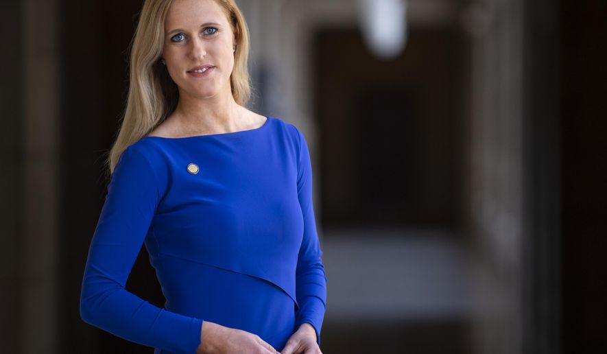Republican State Sen. Julie Slama poses for a portrait on Thursday, Feb. 21, 2019, at the Nebraska Capitol Building. (Savannah Blake/Lincoln Journal Star via AP)
