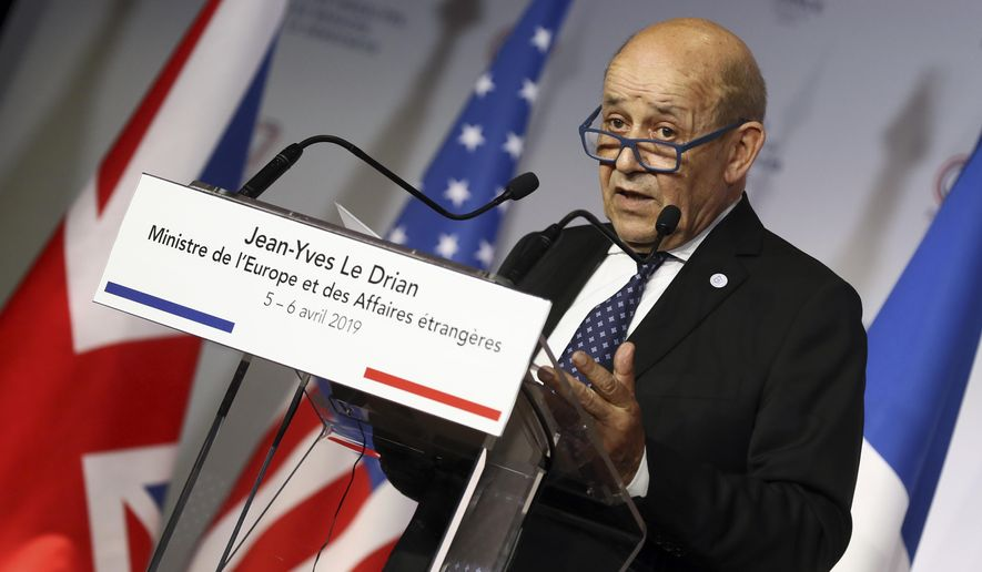 French Foreign Minister Jean-Yves Le Drian attends a press conference on the second day of a G7 meeting at ministerial level in Dinard, Brittany, Saturday, April 6, 2019. The G7 meeting is focus on cybersecurity, the trafficking of drugs, arms and migrants in Africa's troubled Sahel region, and fighting gender inequality. (AP Photo/David Vincent)
