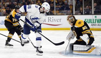 Tampa Bay Lightning's Nikita Kucherov (86) scores on Boston Bruins' Tuukka Rask (40) during the third period of an NHL hockey game in Boston, Saturday, April 6, 2019. (AP Photo/Michael Dwyer)