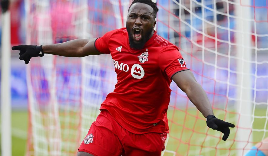 Toronto FC forward Jozy Altidore (17) celebrates his goal against the Chicago Fire during the first half of an MLS soccer game in Toronto, Saturday, April 6, 2019. (Frank Gunn/The Canadian Press via AP)