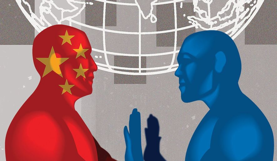 Illustration on confronting China by Linas Garsys/The Washington Times