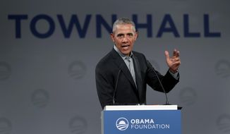 Former President Barack Obama referenced himself over 400 times during a town hall in Berlin on Saturday, according to a report. (Associated Press)