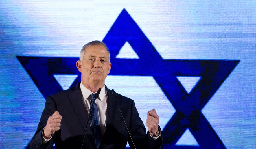 """Blue and White party leader Benny Gantz ramped up his rhetoric, telling voters Saturday that Israeli Prime Minister Benjamin Netanyahu """"is not the messiah, and he's not a legend that can't be replaced"""" in elections Tuesday. (Associated Press/File)"""
