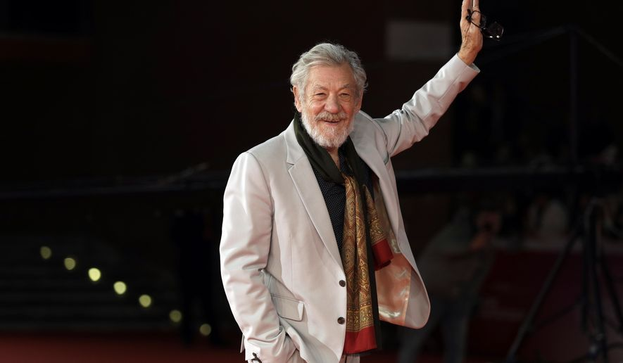 """FILE - In this Wednesday, Nov. 1, 2017 file photo, actor Ian McKellen poses on the red carpet at the 12th edition of the Rome Film Fest, in Rome. British stage stars were preparing Sunday, April 7, 2019 for the annual Olivier Awards, where musicals """"Come From Away"""" and """"Company"""" lead the race with nine nominations apiece. Other acting contenders include Ian McKellen for """"King Lear,"""" Gillian Anderson for """"All About Eve"""" and Sophie Okonedo for """"Antony and Cleopatra."""" (AP Photo/Andrew Medichini, file)"""