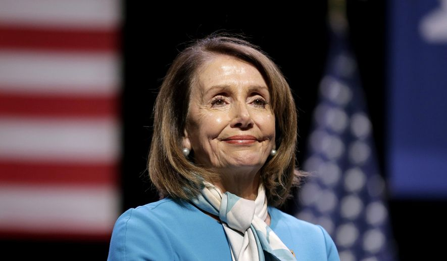"In this Feb. 25, 2019, file photo, House Speaker Nancy Pelosi smiles while attending a bill signing ceremony in New York.  Pelosi has been named the recipient of the 2019 John F. Kennedy Profile in Courage Award. Caroline Kennedy, the daughter of the late president, said in a statement Sunday, April 7 that the California Democrat is ""the most important woman in American political history."" (AP Photo/Seth Wenig, File)"