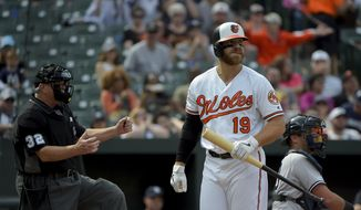 Baltimore Orioles first baseman Chris Davis (19) reacts after striking out in the seventh inning of a baseball game against the New York Yankees, Sunday, April 7, 2019, in Baltimore. (AP Photo/Will Newton)