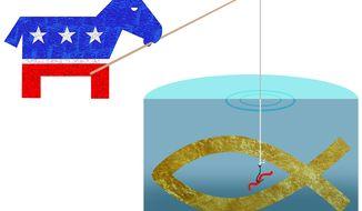 Illustration on Democrat overtures to evangelicals by Alexander Hunter/The Washington Times