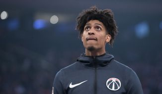 Washington Wizards forward Devin Robinson warms up before an NBA basketball game against the New York Knicks, Sunday, April 7, 2019, at Madison Square Garden in New York. (AP Photo/Mary Altaffer) ** FILE **