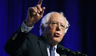 Democratic presidential candidate Sen. Bernie Sanders, I-Vt., speaks at a convention of the International Association of Machinists and Aerospace Workers, Monday, April 8, 2019, in Las Vegas. (AP Photo/John Locher)