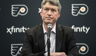 Philadelphia Flyers NHL hockey team general manger Chuck Fletcher speaks at an end of season press conference in Voorhees, N.J., Monday, April 8, 2019. (Jose F. Morena/The Philadelphia Inquirer via AP)