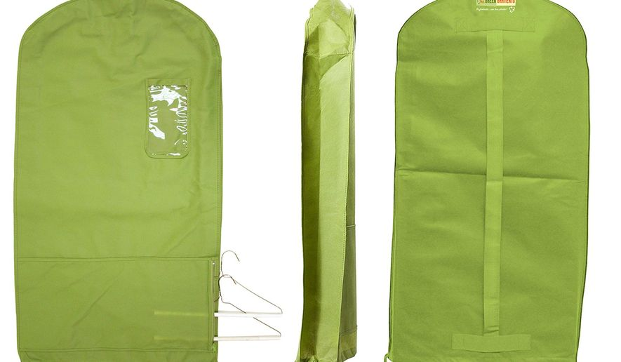 This photo provided by The Green Garmento shows one of the company's Green Garmento bags; an eco-friendly 4-in-1 reusable garment /duffel/ laundry bag that can help you green your dry-cleaning routine and eliminate plastic. (The Green Garmento via AP)