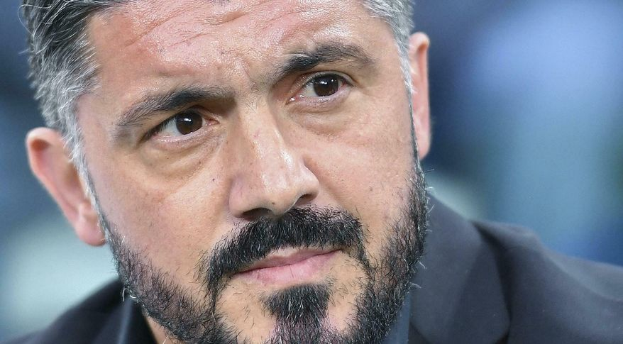 Milan head coach Gennaro Gattuso looks on during the Italian Serie A soccer match between Juventus and AC Milan at the Allianz Stadium in Turin, Italy, Saturday, April 6, 2019.  (Alessandro Di Marco/ANSA via AP)